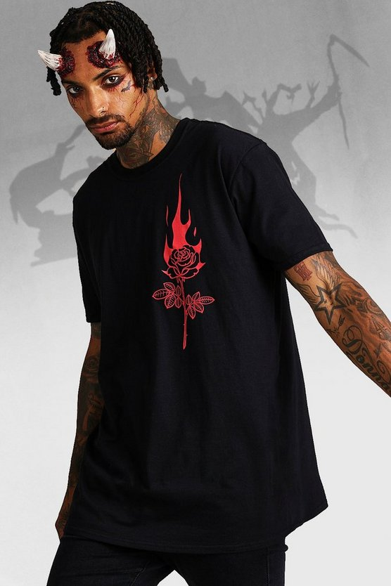 Halloween Oversized Flaming Rose T Shirt by Boohoo Man