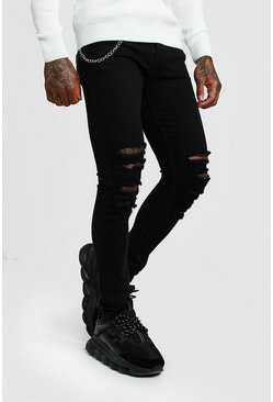 Black Super Skinny Distressed Jean