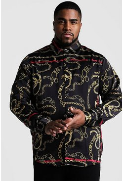Black Plus Size Chain Print Long Sleeve Shirt