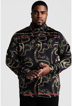 Black Big And Tall Chain Print Long Sleeve Shirt