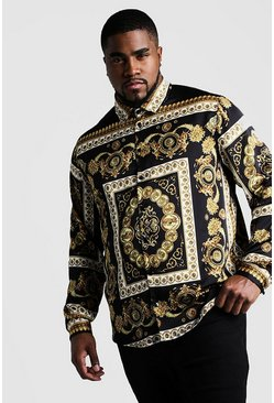 Mens Black Big And Tall Renaissance Print Long Sleeve Shirt