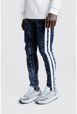 Mens Washed blue Super Skinny Acid Wash Jean With Paint Stripe