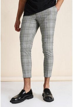 Super Skinny Grey Check Crop Trouser