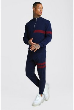 Mens Navy Half Zip Funnel Neck Knitted Jumper & Jogger Set
