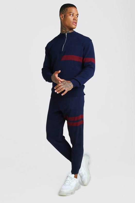 Half Zip Funnel Neck Knitted Jumper & Jogger Set by Boohoo Man