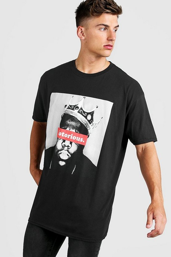 Mens Black Oversized Notorious BIG Crown License T-Shirt