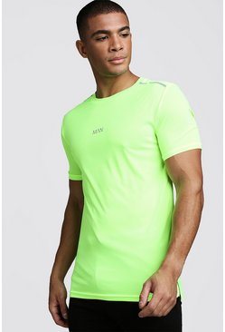 Mens Yellow MAN Active Muscle Fit Neon T-Shirt