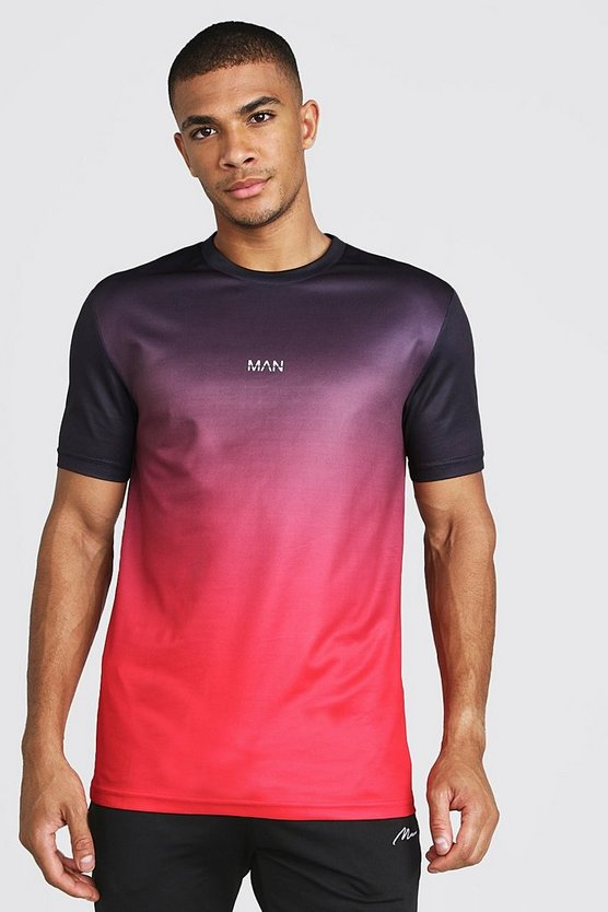 Mens Red MAN Active Ombre Muscle Fit T-Shirt