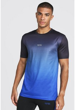Mens Blue MAN Active Ombre Muscle Fit T-Shirt