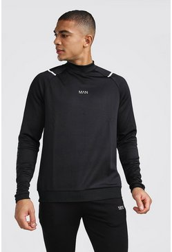 Black MAN Active Funnel Neck Top