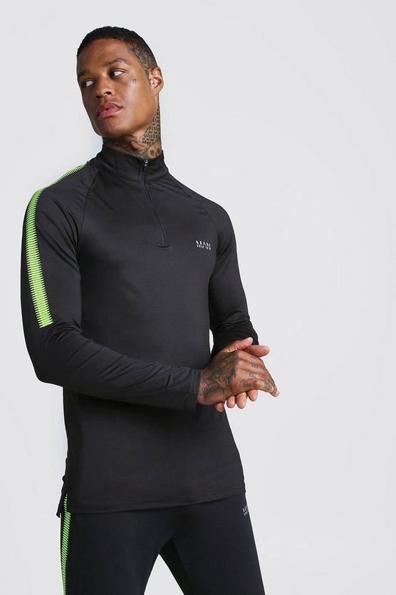 Black MAN Active Muscle Fit Funnel Neck Top