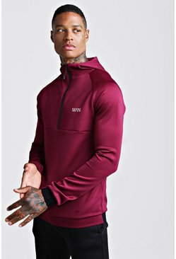 Sweat à capuche coupe Fit avec détail zip MAN Active, Lie de vin, Homme