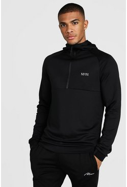 Mens Black MAN Active Muscle Fit Hoodie With 1/4 Zip