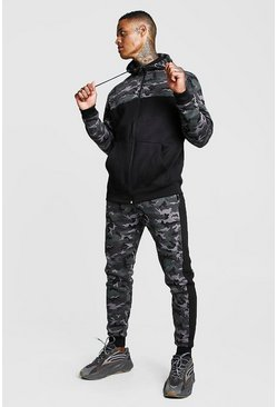 Camo Colour Block Hooded Tracksuit