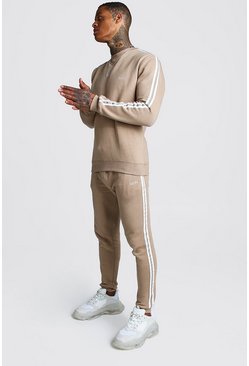 Mens Taupe Original MAN Embroidered Sweater Tape Tracksuit