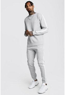 Mens Grey marl Original MAN Embroidered Sweater Tape Tracksuit