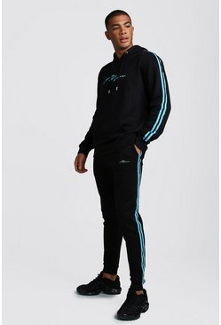 Mens Black MAN Signature Hooded Tracksuit Neon Blue Tape