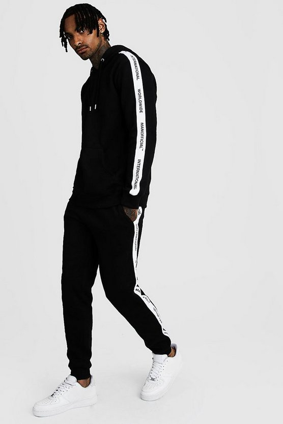 Mens Black Hooded Tracksuit With MAN Official Tape
