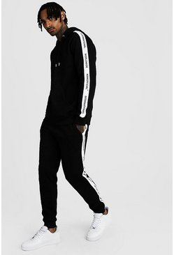 Black Hooded Tracksuit With MAN Official Tape