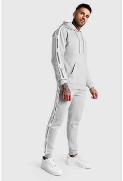 Grey Hooded Tracksuit With MAN Official Tape