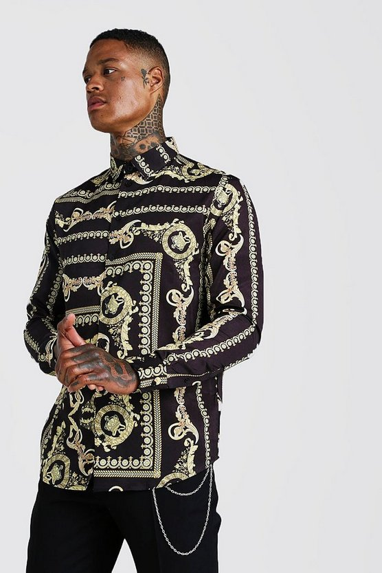 Mens Black Baroque Print Long Sleeve Shirt