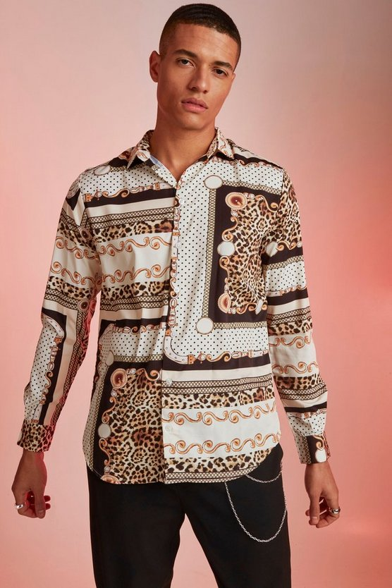 Off white Polka Dot Baroque Print Long Sleeve Shirt