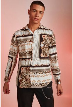 Mens Off white Polka Dot Baroque Print Long Sleeve Shirt