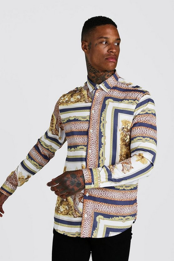 Mens Blue Animal Baroque Print Long Sleeve Shirt