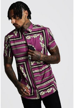 Mens Purple Short Sleeve Baroque Print Shirt