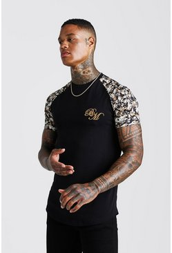 Mens Black BM Muscle Fit Embroidered Baroque Print T-Shirt