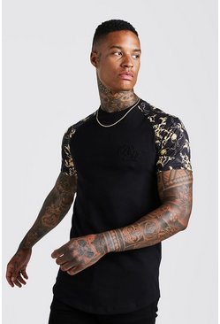 Black B&M Muscle Fit Baroque Print T-Shirt
