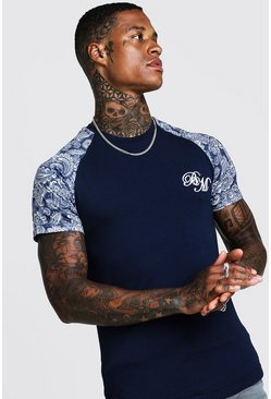 Mens Navy B&M Muslce Fit Embridered Paisley Print T-Shirt
