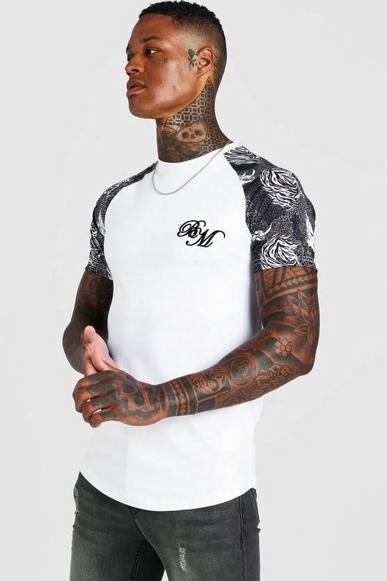 Mens White B&M Muscle Fit Embroidered Animal Print T-Shirt