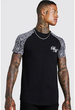 Mens Black BM Embroidered Paisley Sleeve Print T-Shirt