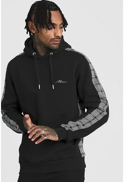 Black MAN Signature Hoodie With Jacquard Side Panels