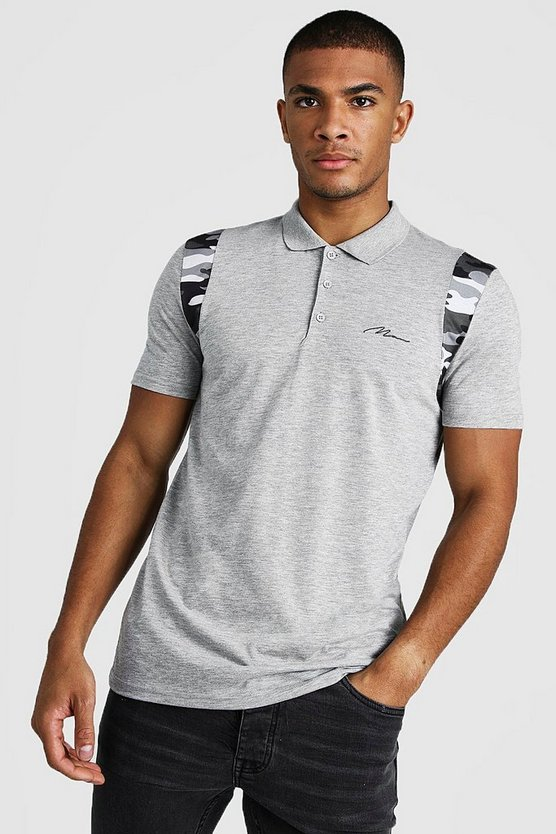 Grey MAN Signature Camo Shoulder Muscle Fit Polo