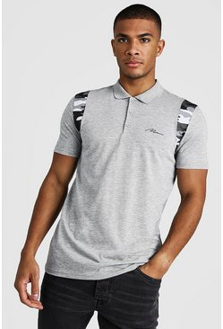 Polo coupe Fit à épaules camouflage MAN Signature, Gris