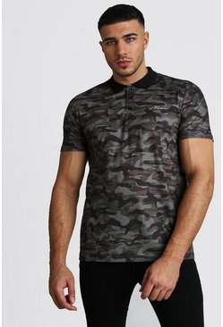 Mens Khaki MAN Signature Print Polo Shirt