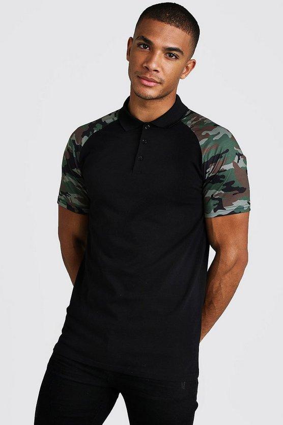 Muscle Fit Camo Sleeve Raglan Polo Shirt by Boohoo Man