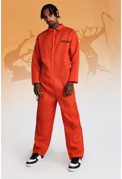 Mens Halloween Prisoner Orange Overall Costume
