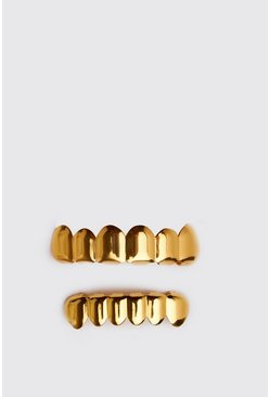 Mens Halloween Gold Coloured Teeth Grill