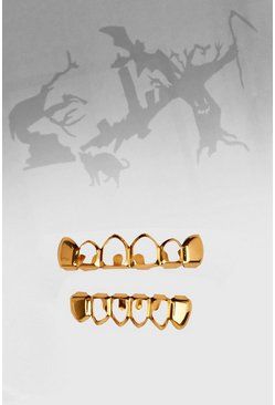 Mens Gold Halloween Open Mouth Grill