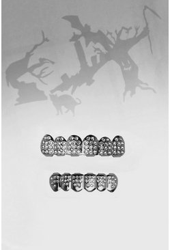 Mens Silver Halloween Ice Diamantee Teeth Grill