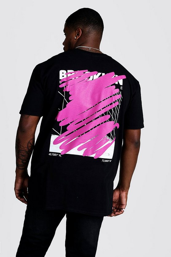 Black Big And Tall Graffiti Cover Back Print T-Shirt