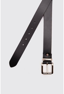 Mens Black Real Leather Smooth Belt With Roller Buckle