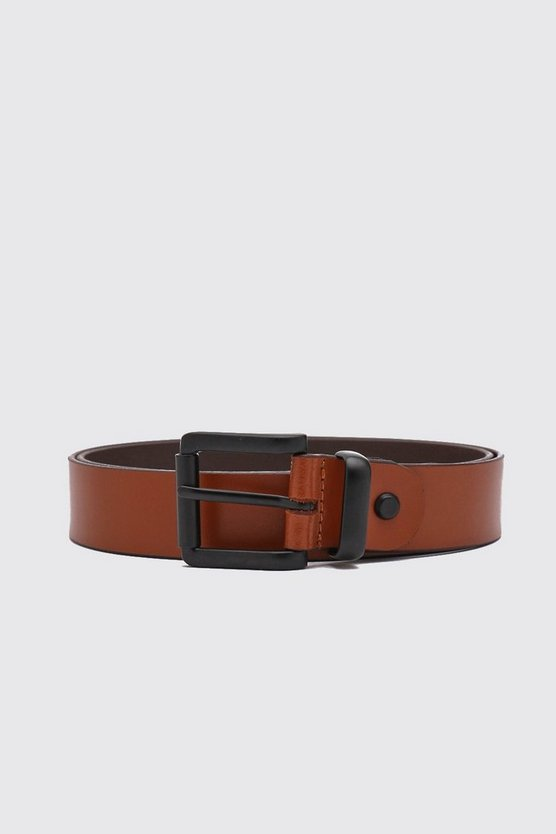 Tan Real Leather Black Buckle Belt