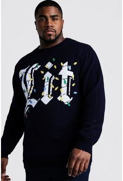 Mens Navy Big And Tall Lit Christmas Jumper