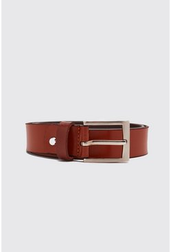 Mens Tan Real Leather Smooth Belt