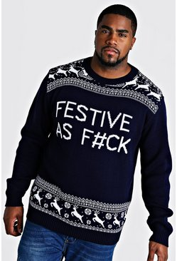 Mens Navy Big And Tall Festive Slogan Christmas Jumper