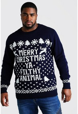 Mens Navy Big And Tall Filthy Animal Christmas Jumper